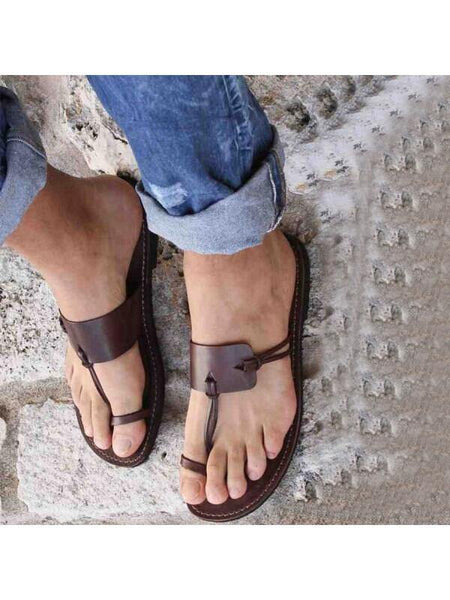 Plain Flat Peep Toe Casual Comfort Sandals