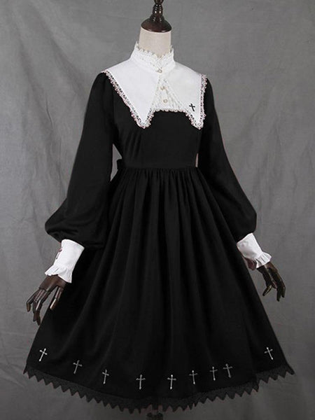 Medieval Retro Collar Lace Dress Puff Sleeve Large Swing Dress Lolita Style Girl Gothic Dress
