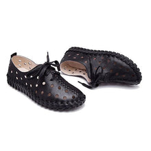 Load image into Gallery viewer, Hollow Out Breathable Stitching Lace Up Leather Soft Shoes