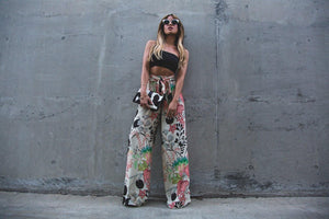 Loose Casual Floral Leaf Printed Wide Leg Pants