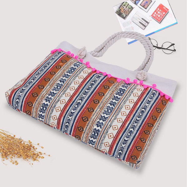 Single Stripe Tassel Pendant Beach Bag