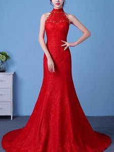 Bride Lace shoulders waist fishtail big red wedding dress