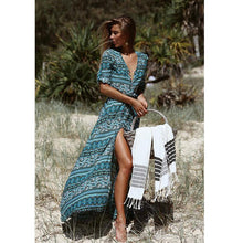 Load image into Gallery viewer, Floral Printed Half Sleeve Bohemia Maxi Dress