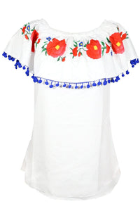 Pompom Off The Shoulder Ruffles Short Sleeve Loose Blouse Tops