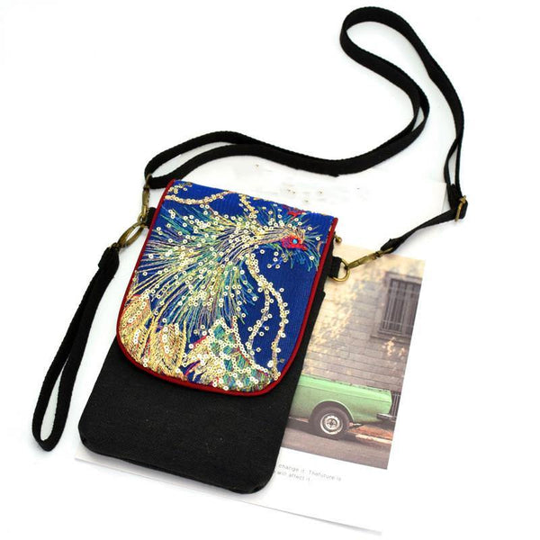 Embroidery Small Bag Female Sequin Embroidery Mini Canvas Hand Bag