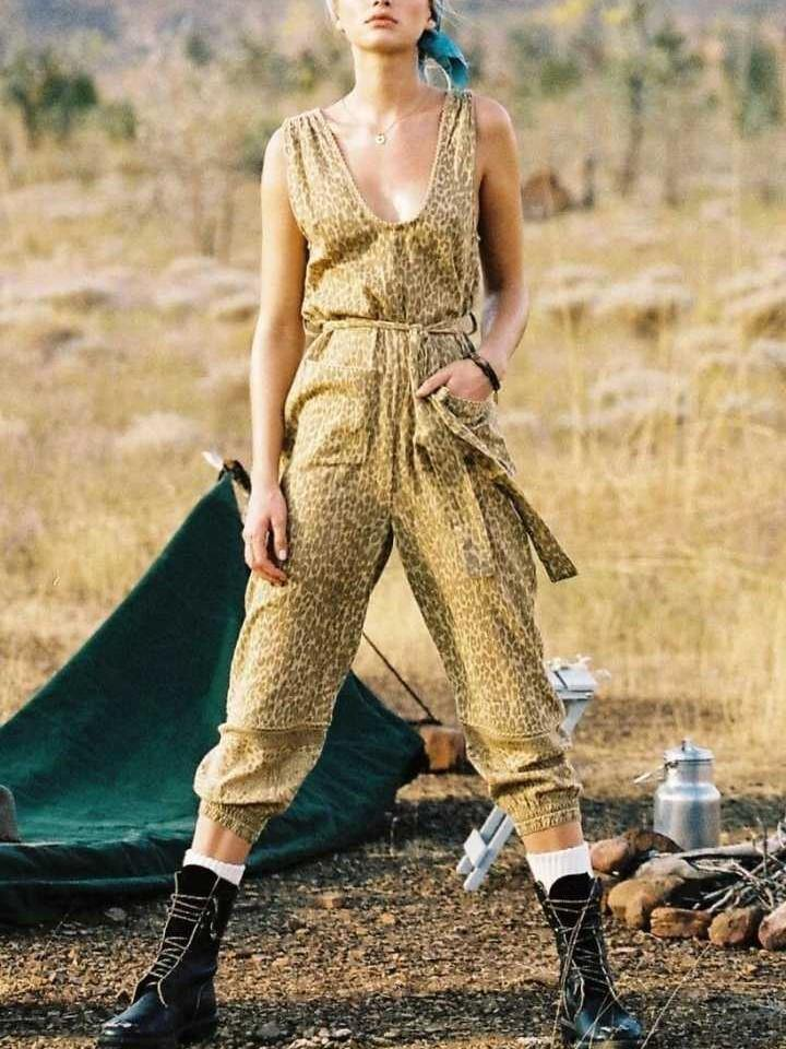 Boho Mustard Color Leopard Print Loose Deep Round Neck Tie Holiday Jumpsuit