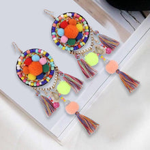 Load image into Gallery viewer, Ethnic Bohemia Dangle Pompom Shell Beads Silk Long Tassel Earrings