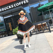 Load image into Gallery viewer, Folk Style Tassel Knit Shawl Cloak Sweater