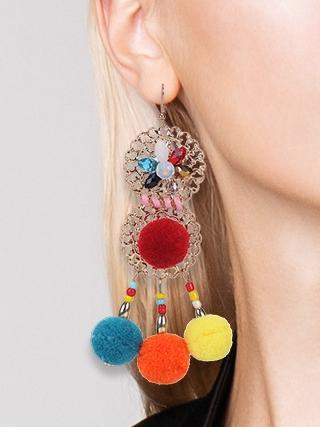 Colorful Ethnic Bohemia Flower Pom Beads Earrings