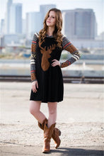 Load image into Gallery viewer, Print Elk Hooded Stitching Christmas Mini Dress