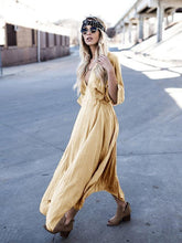 Load image into Gallery viewer, Asymmetric Deep V-neck Maxi Dress