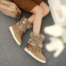 Load image into Gallery viewer, Warm Thickness Tassels Solid Color Round Toe Snow Ankle Boots