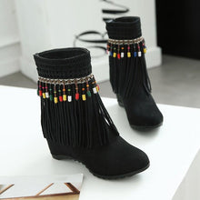 Load image into Gallery viewer, Tassel Beaded Roman Folk Style Hidden Heel Plus Size Short Boots