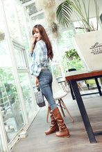 Load image into Gallery viewer, Hidden Heel Think Lace Side Women Large Size Long Boots
