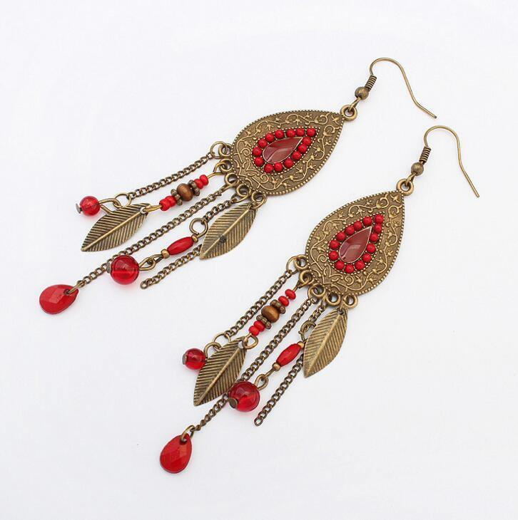 Vintage Metal Leaves Indian Style Tassel Earrings