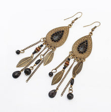 Load image into Gallery viewer, Vintage Metal Leaves Indian Style Tassel Earrings