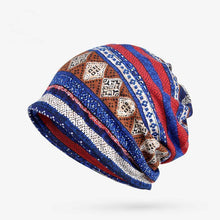 Load image into Gallery viewer, Baggy Slouchy Four Seasons Cotton Geometric Pattern Adult Hat Infinity Scarf