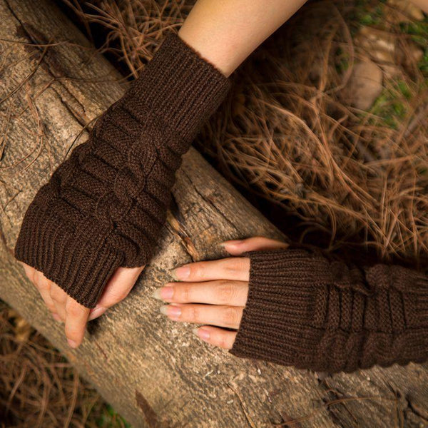 Half refers to the warm knit typing women s thick wool Half palm gloves - 4