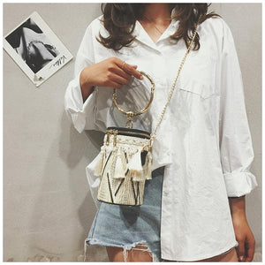 Fringe Barrel Chain Crossbody Woven Bag