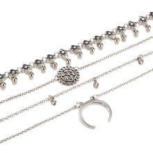 Load image into Gallery viewer, Retro exaggerated crystal alloy plate moon multi-tiered chest clavicle necklace necklace
