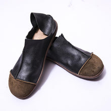 Load image into Gallery viewer, Fashionable Leather Retro Splicing Black Women Single Shoes