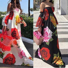Load image into Gallery viewer, Floral Print Off Shoulder Beach Casual Maxi Dress