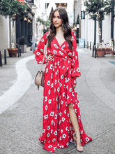 Load image into Gallery viewer, Floral Print V Neck Long Sleeve Belted Boho Maxi Long Dress