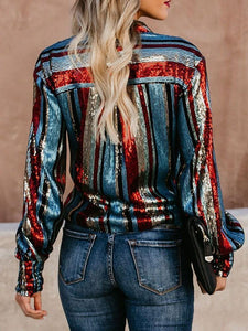 Colorful Stripe Sequin Long Sleeve Blouse Tops