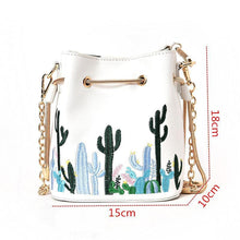 Load image into Gallery viewer, Cacti Pattern Phone Bag String Bucket Bag Chain Shoulder Bags For Women
