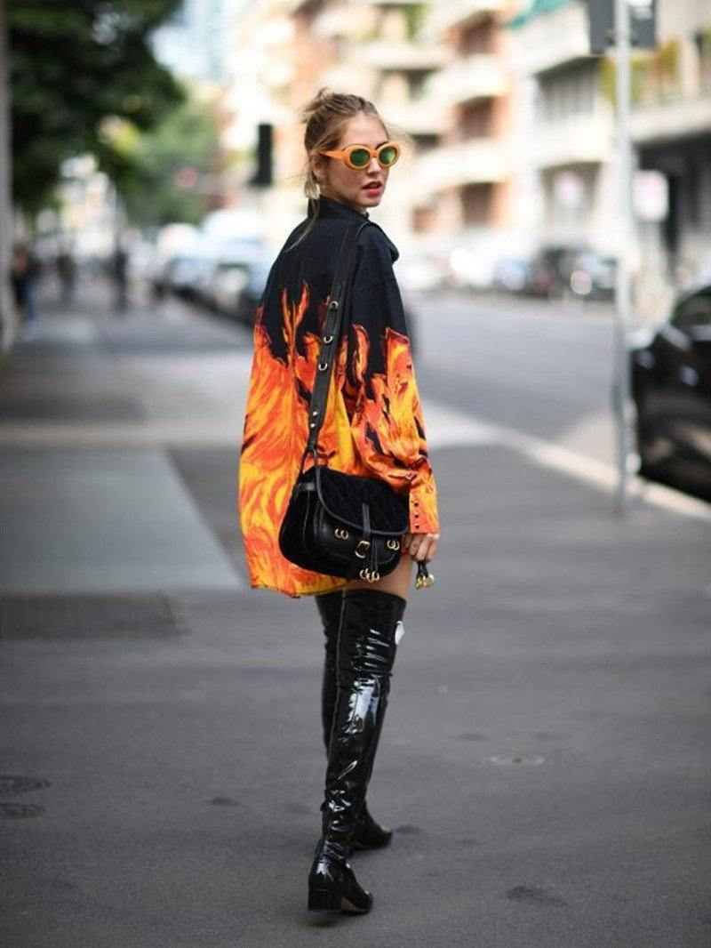 Spring and Autumn Fashion Street Flame Flame Loose Shirts