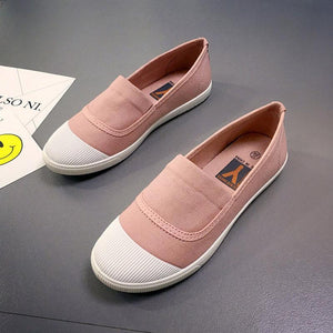 White Toe Color Blocking Canvas Slip On Casual Flat Shoes