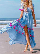 Load image into Gallery viewer, Bohemia Pompoms Knotted Bowknot Split-front Maxi Beach Dress