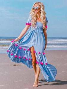 Bohemia Pompoms Knotted Bowknot Split-front Maxi Beach Dress