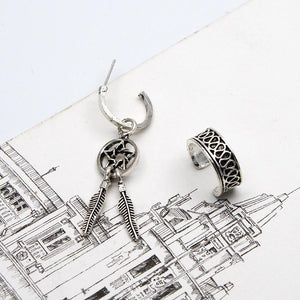 Vintage C-shaped Ear Clips Moon Love 7-piece Earrings Set