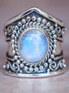 Retro Moonstone Ring Exaggerated Punk Style Jewelry