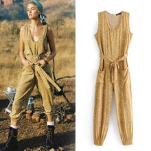 Load image into Gallery viewer, Boho Mustard Color Leopard Print Loose Deep Round Neck Tie Holiday Jumpsuit