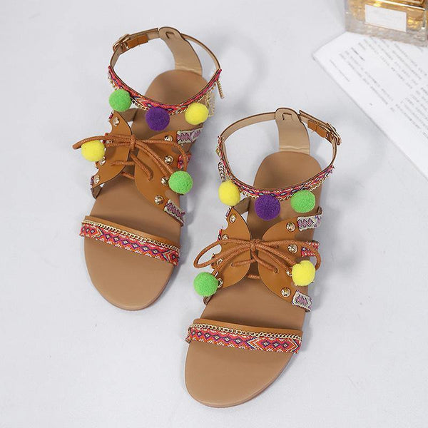 2018 Summer Beach Tassel Flat Heel Sandals
