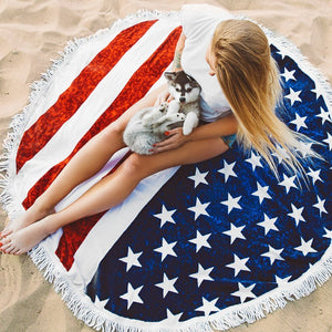Hot Sale Nation Flag digital printing tassel beach towel supply sunscreen shawl multi-purpose mat