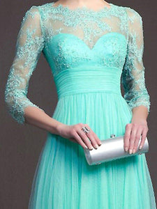 Exquisite Solid See-Through Evening Dress