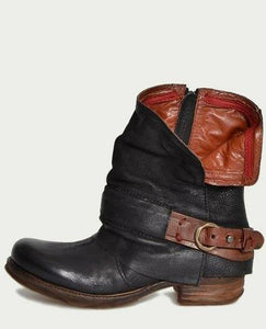 British Retro Flat Martin Boots Female Belt Buckle Cuffed Two Wear Boots