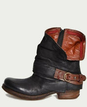 Load image into Gallery viewer, British Retro Flat Martin Boots Female Belt Buckle Cuffed Two Wear Boots