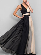 Load image into Gallery viewer, Two-color Sleeveless V-Neck Maxi Evening Dress