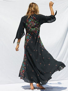 Print Deep V Neck Bohemia Beach Maxi Dress