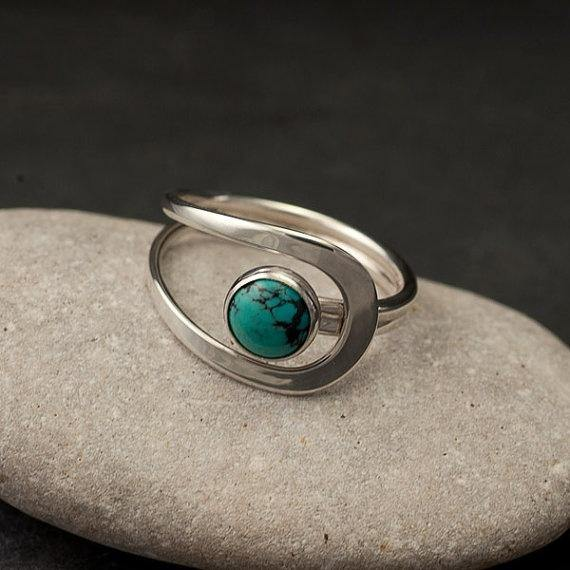Natural Gemstone Turquoise Bride Wedding Engagement Rings Fine Jewelry