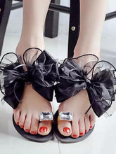 Load image into Gallery viewer, Big Size Butterflyknot Lace Bead Clip Toe Flat Flip Flops Sandals