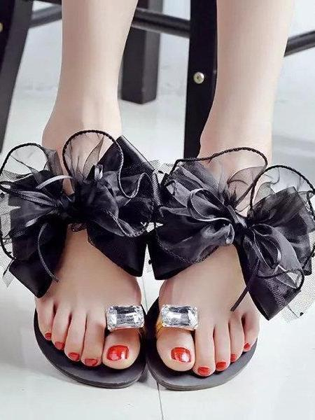 Big Size Butterflyknot Lace Bead Clip Toe Flat Flip Flops Sandals