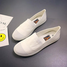 Load image into Gallery viewer, White Toe Color Blocking Canvas Slip On Casual Flat Shoes