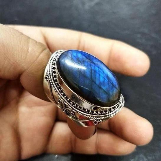 Vintage Natural Labradorite Gemstone Girl Ring