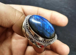 Vintage Natural Labradorite Girl Ring