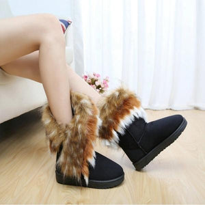 Cozy Winter Solid Color Short Faux Fox Warm Snow Ankle Boots
